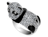 Cheryl M. Synthetic Cubic Zirconia (CZ) Panda Ring in Sterling Silver