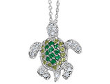 Cheryl M. Synthetic Cubic Zirconia Turtle Pendant Necklace in Sterling Silver with Chain
