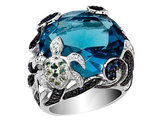 Cheryl M. Synthetic Cubic Zirconia (CZ) Turtle Cocktail Ring in Sterling Silver