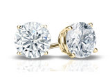 Premium Quality Solitaire Stud Diamond Earrings 1/3 Carat (ctw) in 14K Yellow Gold with Screwback