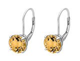 Created Citrine Earrings 3.00 Carat (ctw) in Sterling Silver