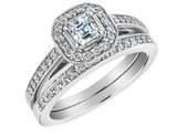 Asscher Cut Diamond Engagement Ring and Wedding Band Set 2/3 Carat (ctw) in 14K White Gold