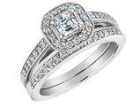 Asscher Cut Diamond Engagement Ring and Wedding Band Set 2/3 Carat (ctw) in 14K White Gold