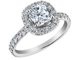 Cushion Cut Diamond Engagement Ring 1.40 Carat (ctw) 14K White Gold