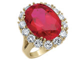 Red Synthetic Crystal and Cubic Zirconia Ring with Gold