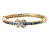 Synthetic Blue and White Crystal Bangle with 24K Gold Jacqueline Kennedy collection