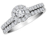 Diamond Halo Engagement Ring and Wedding Band Set 1.0 Carat (ctw) in 10K White Gold