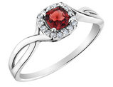Garnet Ring with Diamonds in 10K White Gold