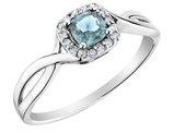 Aquamarine Ring with Diamonds in 10K White Gold