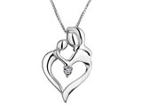 Heart Shaped Mother's Love Pendant Necklace with Diamond in Sterling Silver with Chain
