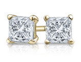 Princess Cut Diamond Solitaire Stud Earrings 1/2 Carat (ctw) in 14K Yellow Gold (Certified)