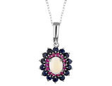 Blue Sapphire, Ruby and Created Opal Pendant Necklace 3.65 Carats (ctw) in Sterling Silver with Chain