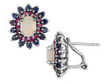 Blue Sapphire, Red Ruby and Created Opal Earrings 2.50 Carats (ctw) in Sterling Silver