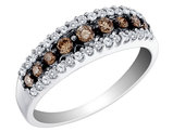 White and Champagne Diamond Ring 1/2 Carat (ctw) in 10K White Gold