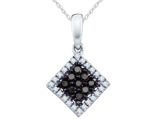White and Black Diamond Pendant Necklace 1/4 Carat (ctw) in 10K White Gold