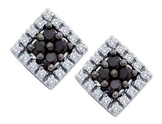 White and Black Diamond Stud Earrings 1/4 Carat (ctw) in 10K White Gold