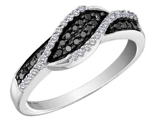 White and Black Diamond Ring 1/4 Carat (ctw) in 14K White Gold