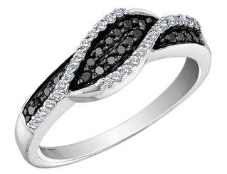 White and Black Diamond Ring 1/4 Carat (ctw) in 14K White Gold