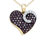 White and Enhanced Champagne Diamond Heart Pendant Necklace 3/4 Carat (ctw) in 10K Yellow Gold with Chain