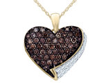 White and Champagne Diamond Heart Pendant Necklace 4/5 Carat (ctw) in 10K Yellow Gold with Chain