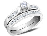 Diamond Engagement Ring and Wedding Band Set 1/2 Carat (ctw I1-I2, H-I) in 14K White Gold