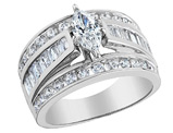 Diamond Marquise Engagement Ring 1.0 Carat (ctw) in 14K White Gold