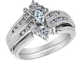 Diamond Marquise Engagement Ring and Wedding Band Set 1/2 Carat (ctw) in 14K White Gold