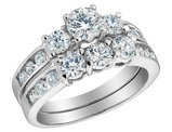 Three Stone Diamond Engagement Ring and Wedding Band Set 2.0 Carat (ctw) in 14K White Gold