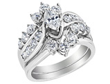 Diamond Marquise Engagement Ring and Wedding Band Set 2.0 Carat (ctw) in 14K White Gold