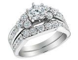 Diamond Engagement Ring and Wedding Band Set 2.0 Carat (ctw) in 14K White Gold