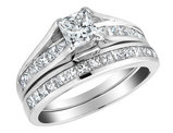 Princess Cut Diamond Engagement Ring and Wedding Band Set 1.51 Carat (ctw) (1/2 Ct Center) in 14K White Gold