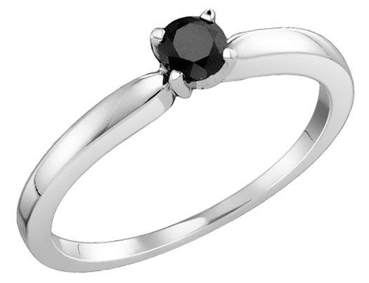 Classic Black Diamond Solitaire Ring 1/4 Carat (ctw) in 10K White Gold
