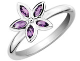 Amethyst Flower Ring 1/3 Carat (ctw) in Sterling Silver