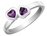 Amethyst Double Heart Ring 1/2 Carat (ctw) in Sterling Silver