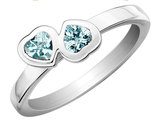 Aquamarine Double Heart Ring 1/2 Carat (ctw) in Sterling Silver