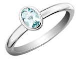 Solitaire Oval Aquamarine Ring 2/5 Carat (ctw) in Sterling Silver