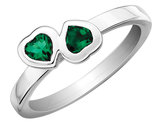 Created Emerald Double Heart Ring 2/5 Carat (ctw) in Sterling Silver