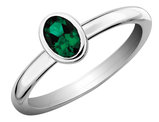 Created Emerald Ring 2/5 Carat (ctw) in Sterling Silver