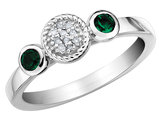 Created Emerald Ring with Diamonds 1/5 Carat (ctw) in Sterling Silver