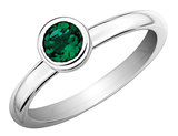 Created Emerald Ring 2/3 Carat (ctw) in Sterling Silver