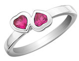 Created Ruby Double Heart Ring 1/2 Carat (ctw) in Sterling Silver
