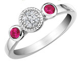 Created Ruby Ring with Diamonds 1/3 Carat (ctw) in Sterling Silver