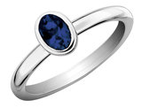Created Synthetic Sapphire Ring 1/2 Carat (ctw) in Sterling Silver