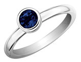 Created Blue Sapphire Ring 2/3 Carat (ctw) in Sterling Silver
