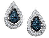 White and Blue Diamond Earrings 2/5 Carat (ctw) in 10K White Gold