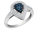 White and Blue Diamond Ring 1/4 Carat (ctw) in 10K White Gold
