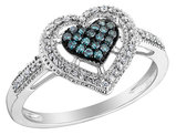 White and Blue Diamond Heart Ring 1/4 Carat (ctw) in 10K White Gold