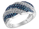White and Blue Diamond Ring 4/5 Carat (ctw) in 10K White Gold