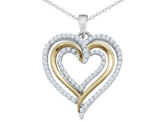 Diamond Heart Pendant Necklace 1/3 Carat (ctw) in 10K White and Yellow Gold with Chain