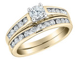 Diamond Engagement Ring and Wedding Band Set 1/2 Carat (ctw) in 14K Yellow Gold